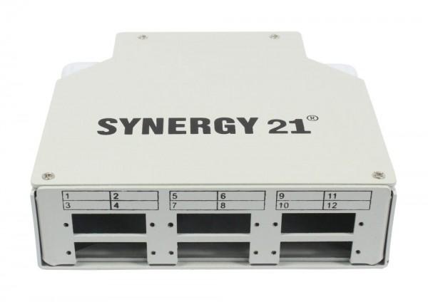 LWL-Patchpanel für Hutschiene(DIN), 6xSC-Duplex/LC-Quad-Buchsen, ohne Kupplungen, Lichtgrau, Synerg