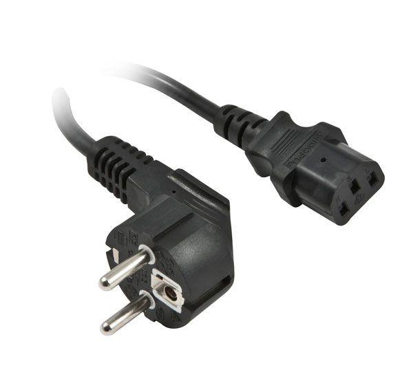 Netzkabel 230V Schutzkontakt CEE7(Stecker)->Kaltgeräte IEC-C13(Buchse), 1m, Black, Synergy 21,