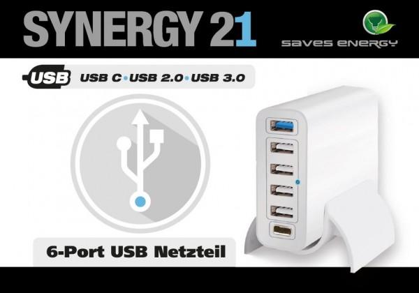 Synergy 21 USB Ladegerät/Netzteil 6-fach 60Watt V2 USB-A und USB-C