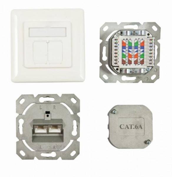 Dosen TP, UP, 2-fach, CAT6A, 500Mhz, Reinweiss, Synergy 21, senkrechter hinterer Kabeleingang