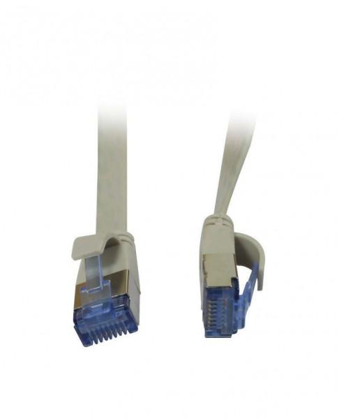 Patchkabel RJ45, CAT6A 500Mhz,15m, grau, U/FTP, flach, AWG32, Synergy 21