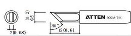ATTEN T900-K / Ersatzlötspitze 5mm schräg 45°