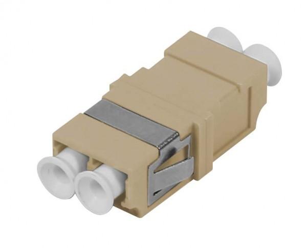 LWL-Kupplung, LC-Buchse/LC-Buchse, 50/125u Multimode OM2, beige, duplex, PVC, ohne Flansch, Synergy