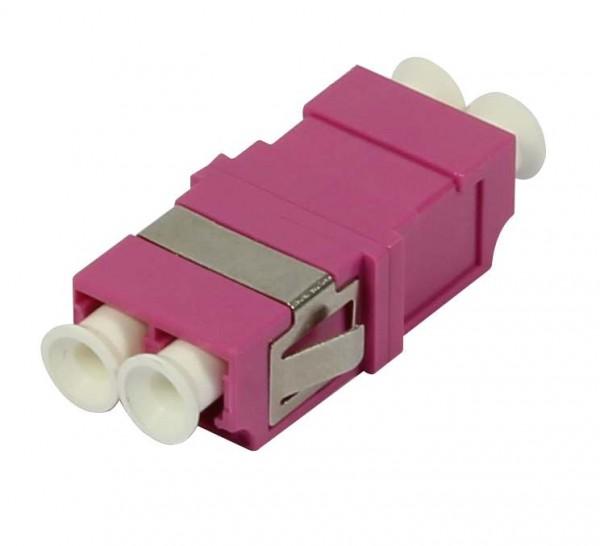 LWL-Kupplung, LC-Buchse/LC-Buchse, 50/125u Multimode OM4, erika-violett, duplex, PVC, ohne Flansch,