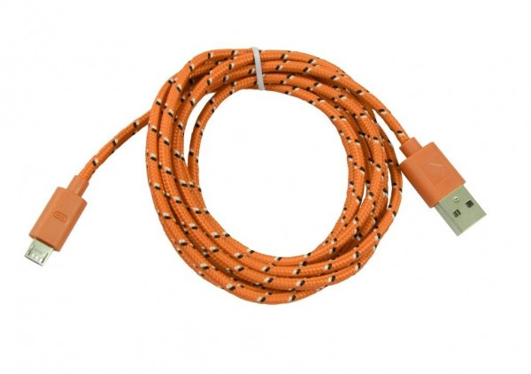Patchkabel USB2.0, 1m, A(St)/MicroB(St), textil/orange, Synergy 21,