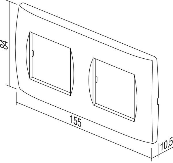 TEM Serie Modul Rahmen OS COVER PLATE SOFT2x2M PW