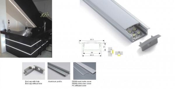 Synergy 21 LED U-Profil 200cm, ALU013 weiss