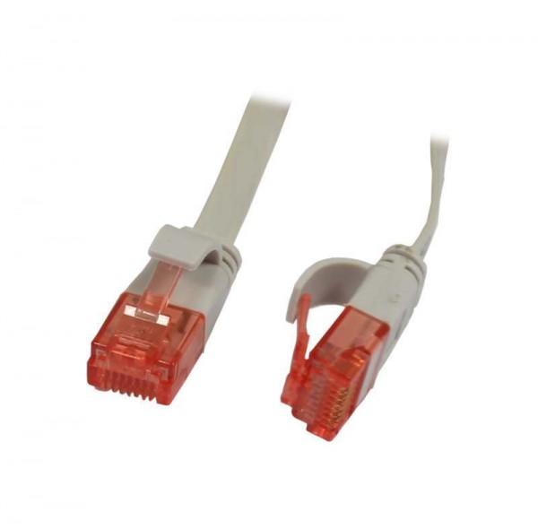 Patchkabel RJ45, CAT6 250Mhz, 0.5m grau, UTP(U/UTP), PVC, Flach, Synergy 21,
