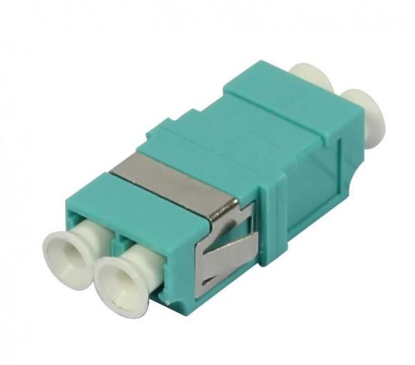 LWL-Kupplung, LC-Buchse/LC-Buchse, 50/125u Multimode OM3, aqua, duplex, PVC, ohne Flansch, Synergy 2