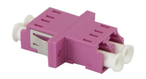 LWL-Kupplung, LC-Buchse/LC-Buchse, 50/125u Multimode, duplex, PVC, Keramikhülse, OM4, mit Flansch, S