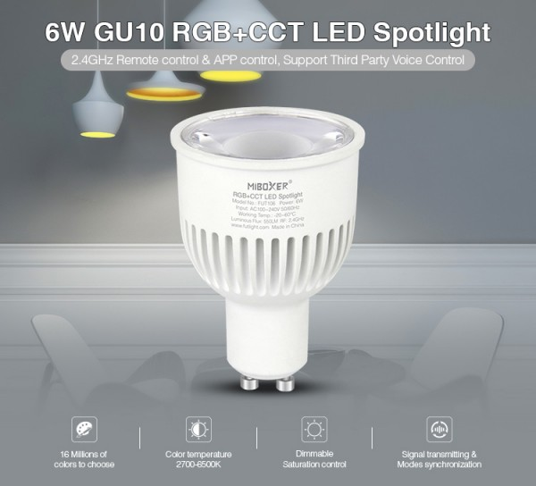 Synergy 21 LED Retrofit GU10 6W RGB-WW (RGB-CCT) Spot *Milight/Miboxer*