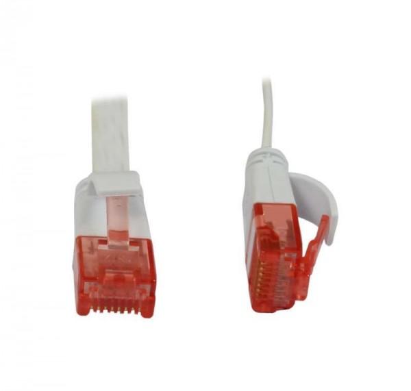 Patchkabel RJ45, CAT6 250Mhz, 1.0m weiss, UTP(U/UTP), PVC, Flach, Synergy 21,