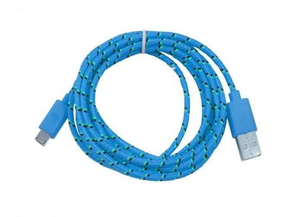 Patchkabel USB2.0, 2m, A(St)/MicroB(St), textil/blau, Synergy 21,