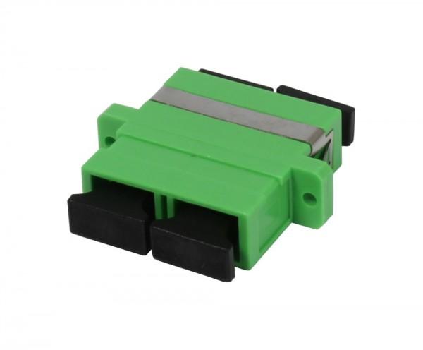 LWL-Kupplung, SC(APC)-Buchse/SC(APC)-Buchse, 9/125u Singlemode, duplex, PVC, OS2, Keramikhülse, mit